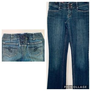 Guess Jeans Retro 70's Style Lace Up Back Size 26